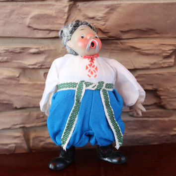 Vintage Russian Ukrainian USSR Cossack Made in Moscow, Collector Doll