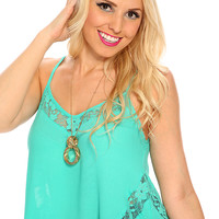 Mint Floral Lace Sleeveless Short Cute Summer Cropped Top