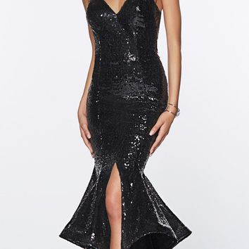 Long Sequin Sheath Mermaid Prom Gown Black Strapless
