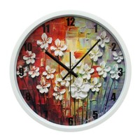 ZLYC Vintage Europe Style Home Decor Oil Painting Flowers Art 12 Inch Round Quartz Arabic Numerals Wall Clock