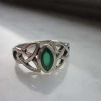 925 sterling Celtic genuine emerald vintage ring celtic emerald jewelry celtic rings silver celtic semiprecious gemstone rings emerald ring