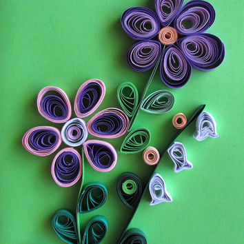 Spring Flowers Quilling Card, Greeting Card With Quilled Flowers in Purple