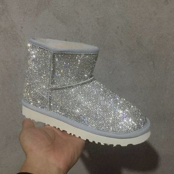 LFMON UGG 5854 Sparkles Diamond Women Men Fashion Casual Wool Winter Snow Boots Silvery