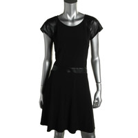 Spence Womens Petites Perforated Short Sleeves Casual Dress