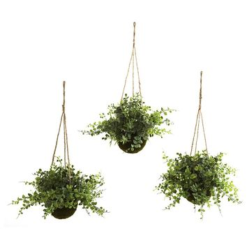 Silk Flowers -Eucalyptus Maiden Hair And Berry Hanging Basket -Set Of 3