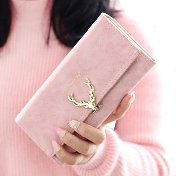2017 New Fashion Wallet Female Women Purse Long Zipper Solid Candy Color Metal Christmas Deer Wallets PU Card Holders Brand