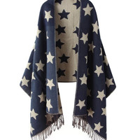 Star Print Fringed Cape