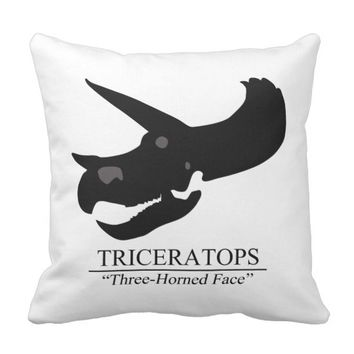 Triceratops Skull Throw Pillow