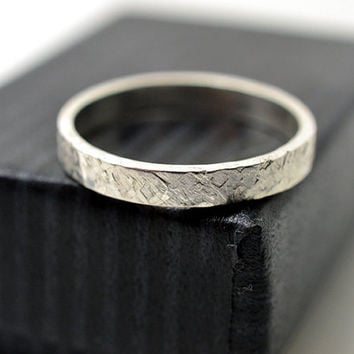 Hammered Wedding Band, Secret Message Ring, Customized Engraving, Personalized Ring, Sterling Silver Ring, Textured Stack Ring
