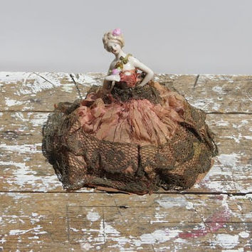 Antique Pin Cushion Doll Victorian Doll Shabby Decor French Cottage Decor