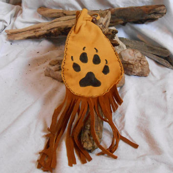 Handmade Hip Pouch, Wolf Paw Design, Native American, Mountain Man, Powwow, Rendezvous, Gold Deer Hide Fringe Bag, Handsewn, Tobacco Pouch