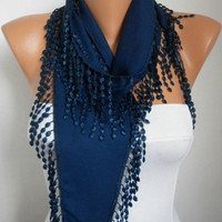 Navy  Blue Scarf  -Pashmina  Scarf  - Cowl with Lace Edge