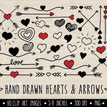 SALE - 30% OFF. Hearts and Arrows Clip Art Set. Valentine's Day Clipart. Hand Drawn Doodle Arrows and Hearts in Red and Black.