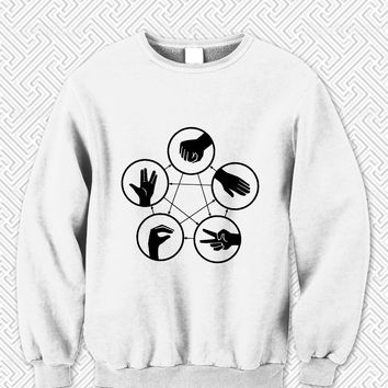 Big Bang Theory Sheldon Cooper Rock Paper Scissors Lizard Spock Sweater Man and Sweater Woman