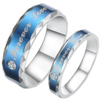 """JewelryWe 6mm Mens """"Forever Love"""" Blue Tone Stainless Steel Ring for Promise, Engagement, Wedding and Anniversary (10)"""