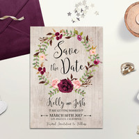Rustic Save the Date card Printable Bohemian Save the Date Floral Wreath Save the Date Burgundy Blush Boho Save the Date Digital Download