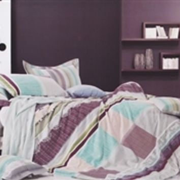 Must Have College Dorm Supplies - Aqua Plum Twin XL Comforter Set
