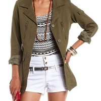 Button-Down Military Jacket: Charlotte Russe