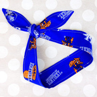 Game Day - UK KENTUCKY WILDCATS - Adult Dolly Bow Tie Up Headscarf Headband Bandana Hair Accessory Boho Preppy - University of Kentucky Blue