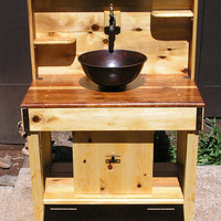 Custom Cedar Potting Bench, Water Station, Outdoor Kitchen, Outdoor Bar, Wet Sink with Reclaimed Redwood Counter Top, Copper Sink and Faucet