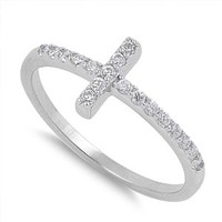 Christian Sideway Cross Cubic Zirconia Ring Sterling Silver 925 Size 9
