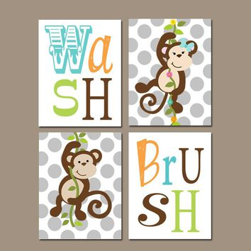 MONKEY Bathroom Wall Art, Monkey Bathroom Decor, Girl Boy Bathroom Rules Canvas or Prints  Wash Brush, Brother Sister Bathroom, Set of 4