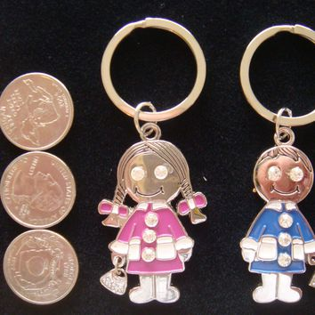 Couple Keychain Fob Key Chain - Many Design Too Choose Cute and Funny  -