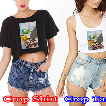 monster inc and looney tunes 141f60a9-fe66-49e0-8db4-9e7761c1ef92 For Crop Shirt and Crop Tank Sexy Shirt Women S, M, L, XL, 2XL*02*