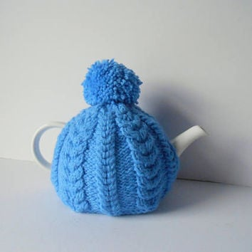Tea Cosy Knitted Tea Cozy Gift for Mom or Dad handmade teapot warmer blue cozy for teapot Irish teapot cover knitted Tea Cosy