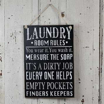 Laundry Room Rules black & white sign