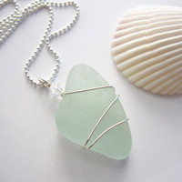 Seafoam Sea glass Necklace - Natural sea glass with swarovski crystal - Real Beach Glass Necklace Mermaid Jewlery