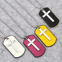 Colorful Cross Dog Tag Necklace