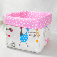 Cute Large Polka Dot Chicken Fabric Basket