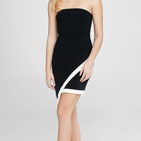 Black Strapless Asymmetrical Hem Dress from EXPRESS