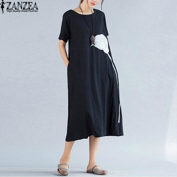 ZANZEA Women Summer O Neck Short Sleeve Elegant Kaftan Mid Calf Dress Floral Print Pockets Split Casual Loose Midi Dresses