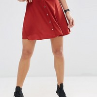 ASOS Mini Skater Skirt with Poppers at asos.com