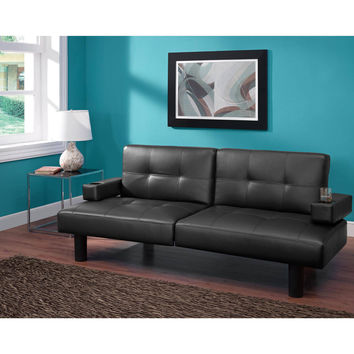 Convertible Tufted Faux Leather Small Space Dorm Room Sleeper Sofa Futon with Cup Holders