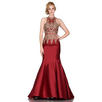 Embroidered Bodice Mermaid Prom Gown Cut Out Back Burgundy