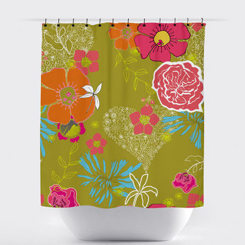 Olive Shabby Chic Floral Shower Curtain
