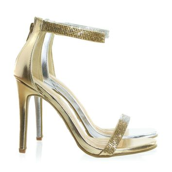Onlylove26 Metallic Metallic High Heel Party Sandal w Rhinestone Encrusted Thin Strap