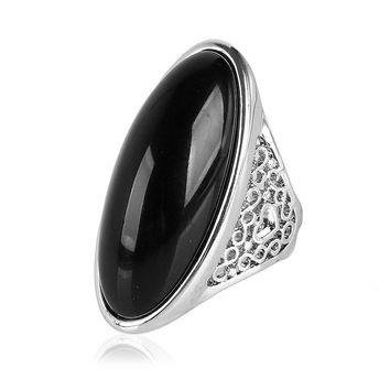 K's Gadgets Fashion Hollow Design Silver Color Black And Green Semi-precious Stone Large Size Rings For Women and Men