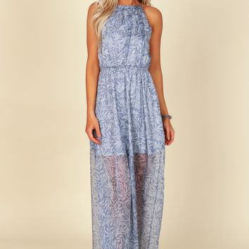 High Neck Pleated Maxi Navy