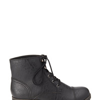 FOREVER 21 Textured Faux Leather Hiking Boots