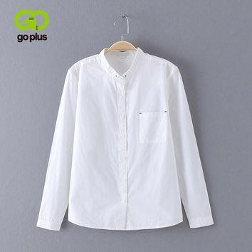 GOPLUS White Blouse Women Shirt Cotton Tops Sweets Stand Collar Stand Collar Long Sleeves Blusas Femininas C4270