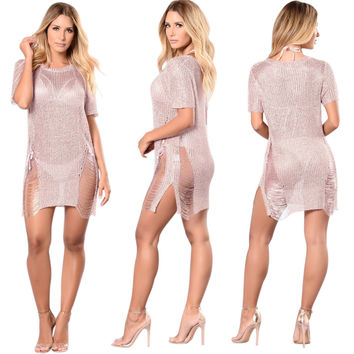 Soft Pink Hollow Out See Through Bodycon Dress