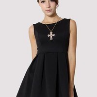 Black Sleeveless Pleated Skater Dress  S009602