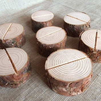40 Natural Wood Place Card Holders, Natural Wood Place Card Holders, Natural Wood Circle Place Card Holders Set of 40