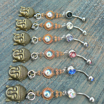 PICK ONE buddha belly ring buddah  karma  in belly dancer indie gypsy hippie morrocan boho and hipster style