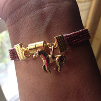 Matte Brown Bead Loom Bracelet with Horse Charm