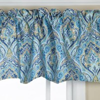 Stylemaster Zoe 56 by 17-Inch Lined Printed Scalloped Valance, Cobalt
